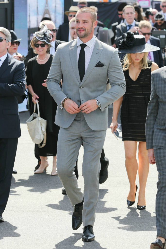MELBOURNE, AUSTRALIA - OCTOBER 29: Kris Smith arrives at the Melbourne Cup Carnival for Derby day on October 29, 2016 theraces.com.au