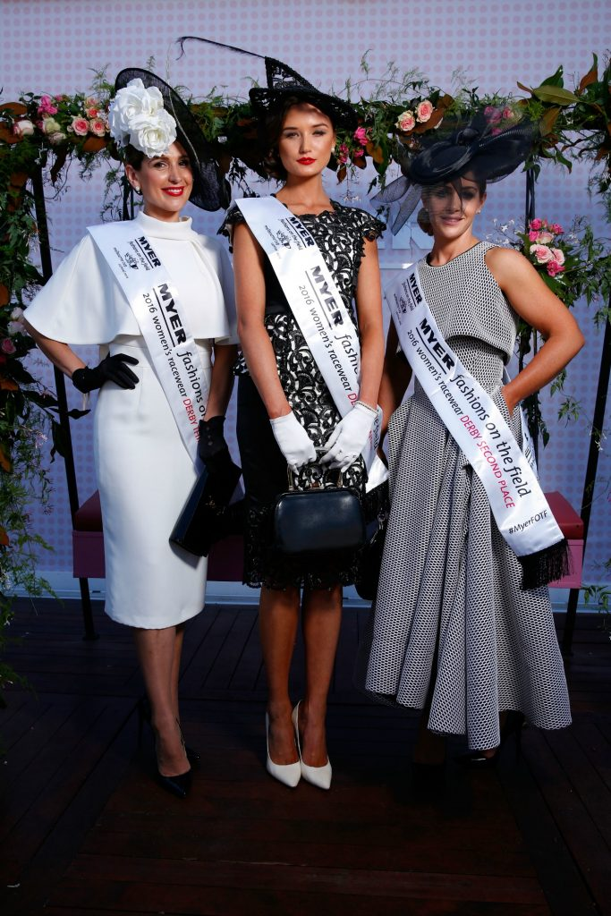 Fashions On The Field winner Gunita Kenina (centre) and runners up Stacey Hanley and Tanya Lazarou on Victoria Derby Day at Flemington Racecourse on October 29, 2016 in Melbourne, Australia. theraces.com.au