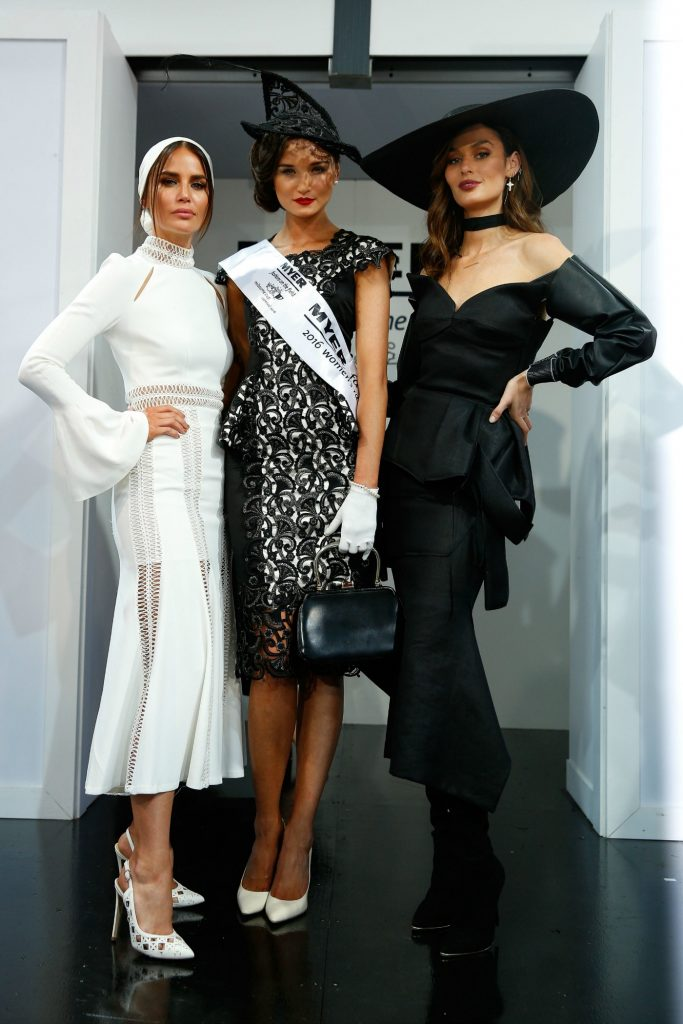 Nicole Trunfio, Jodi Gordon, fashions on the field at Derby Day at Flemington Racecourse on October 29, 2016 in Melbourne, Australia, theraces.com.au