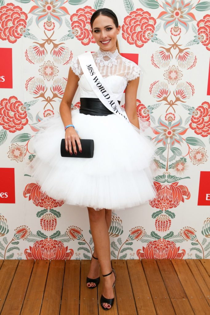 Madeline Cowe seen at the Emirates marquee during Melbourne Cup Carnival for Derby day on October 29, 2016 in Melbourne, Australia, theraces.com.au