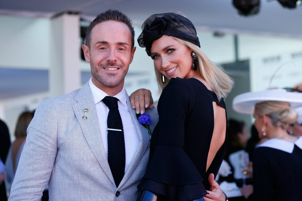 Donny Gallela and Nikki Phillips on Derby Day at Flemington Racecourse on October 29, 2016 in Melbourne, Australia, theraces.com.au
