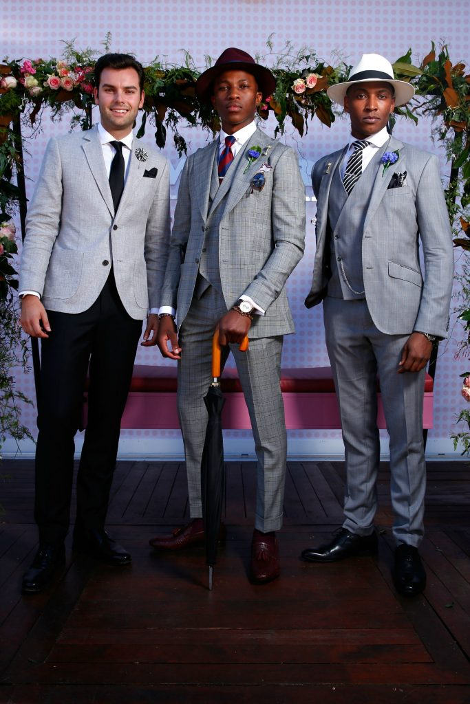 Shayne Tino, Alexander Jordan, Chico Seaton Trotman, Fashions on the field, male winners, Derby Day at Flemington Racecourse on October 29, 2016 in Melbourne, Australia, theraces.com.au