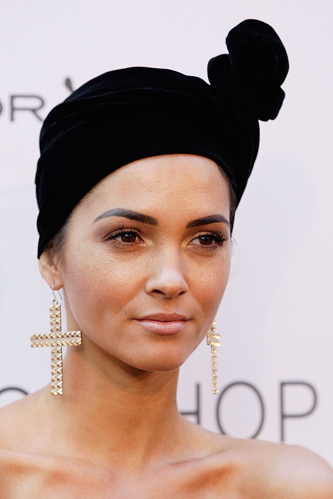 Aisha jade wearing cross earrings at The ELLE Style Awards Sydney - Arrivals