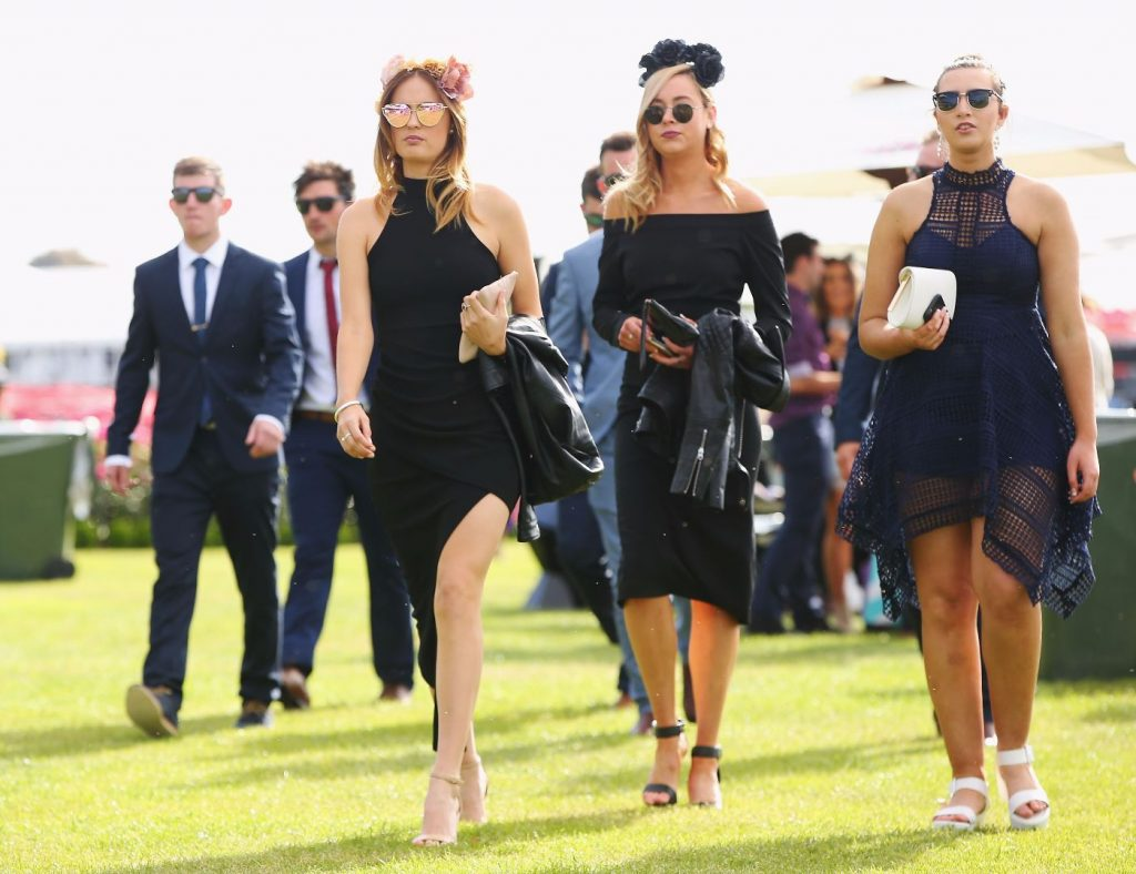 Stylish Racegoers on Melbourne Cup Day at Flemington Racecourse on November 1, 2016 in Melbourne, Australia