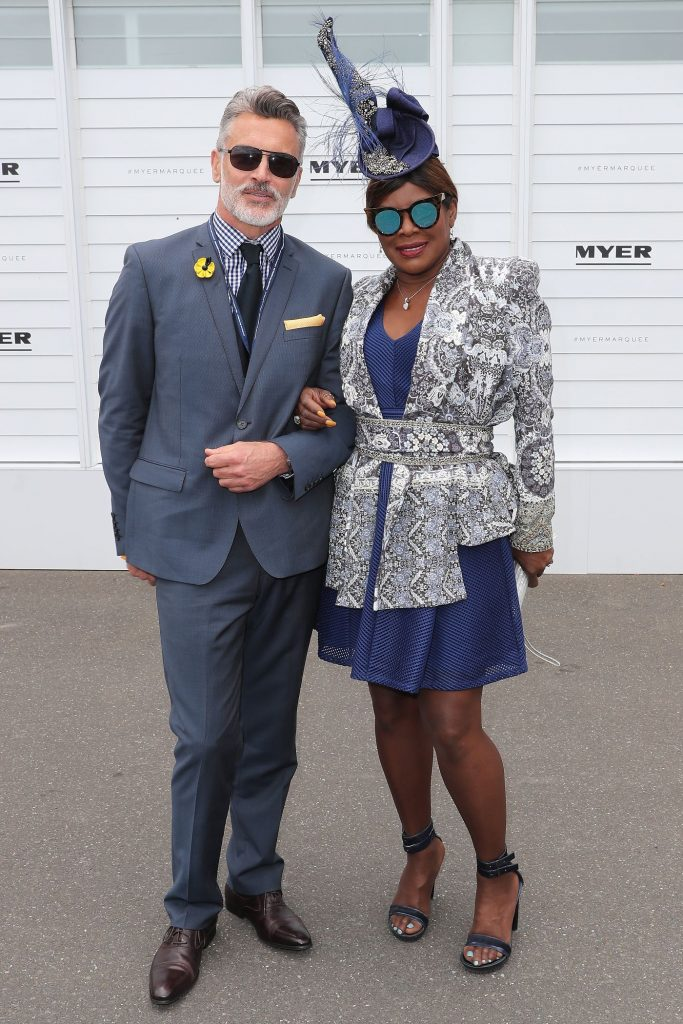 Christopher Morrissey and Marcia Hines pose at the MYER Marquee on Melbourne Cup Day at Flemington Racecourse on November 1, 2016 in Melbourne, Australia.