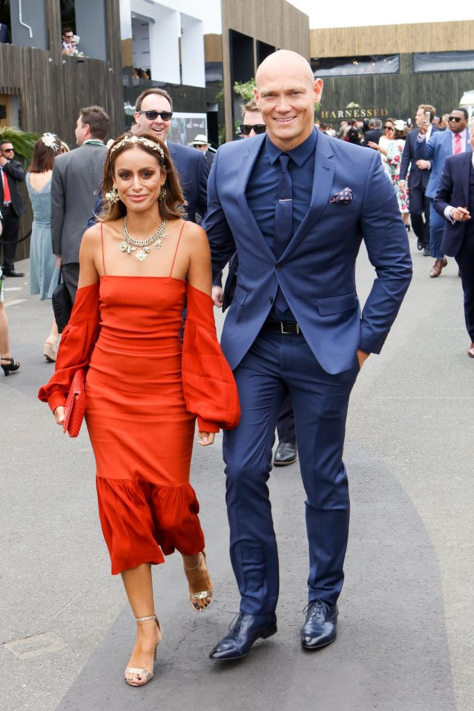 Swimmer Michael Klim and Desiree Deravi at the Melbourne Cup Carnival for Emirates Melbourne Cup Day on November 01, 2016 in Melbourne, Australia
