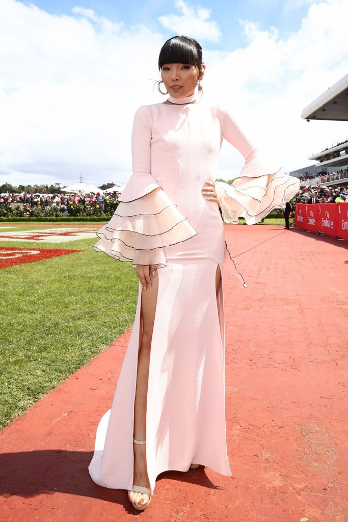 Dami Im poses on Emirates Melbourne Cup Day at Flemington Racecourse on November 1, 2016 in Melbourne, Australia