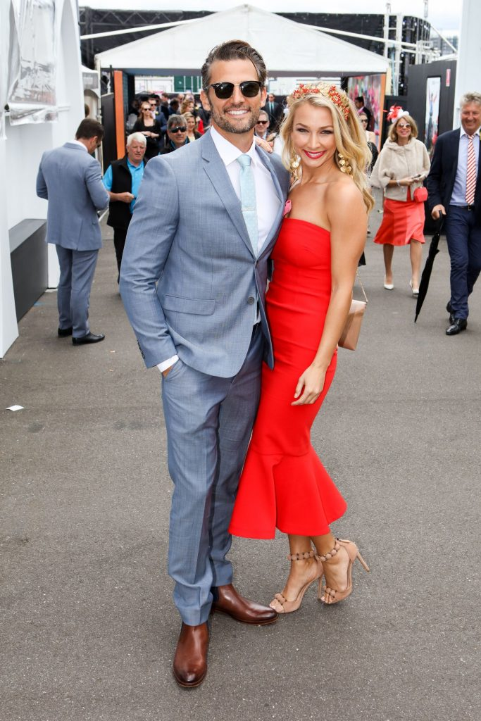 Tim Robards and Anna Heinrich arrive at the Melbourne Cup Carnival for Emirates Melbourne Cup Day on November 01, 2016 in Melbourne, Australia.