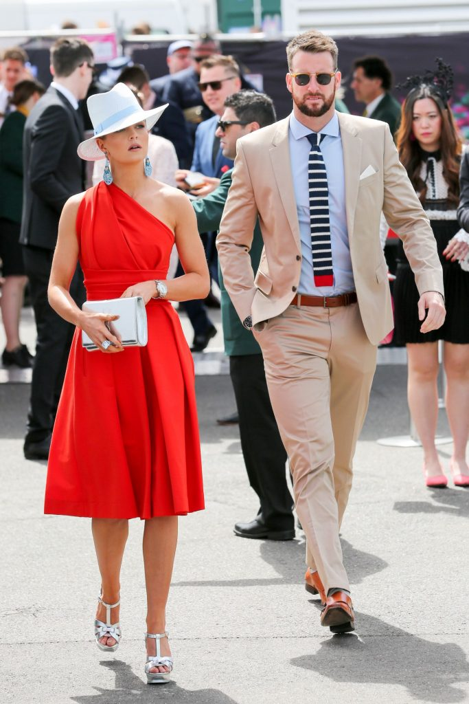 James Magnussen and Rose McEvoy arrrive at the Melbourne Cup Carnival for Emirates Melbourne Cup Day on November 01, 2016 in Melbourne, Australia.