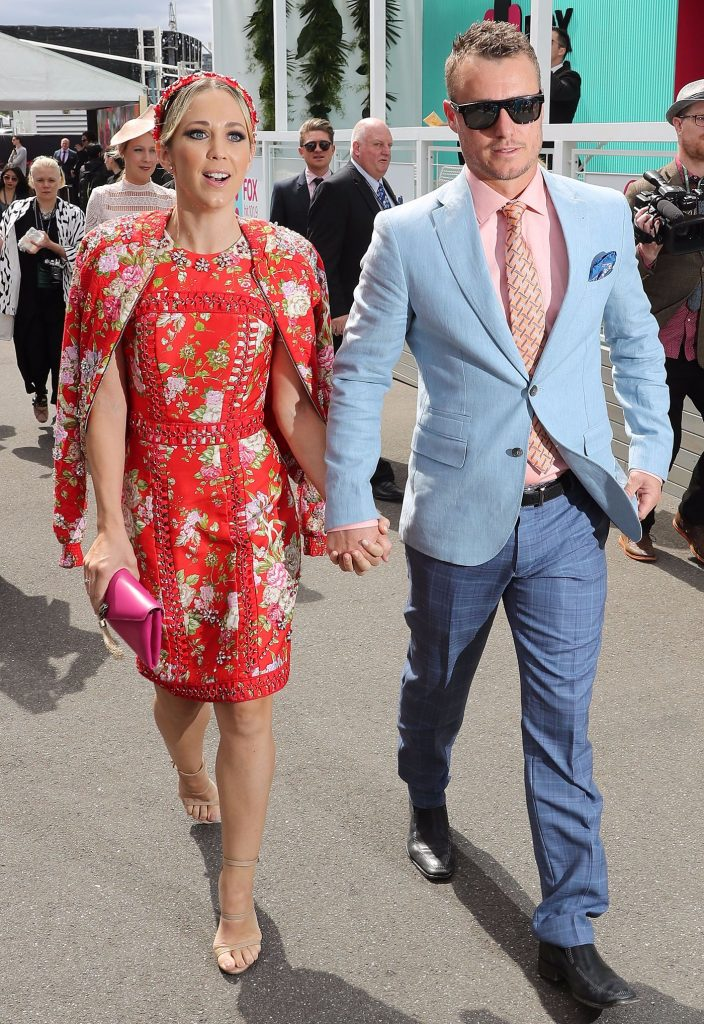 Bec Hewitt and Lleyton Hewitt arrive at the Lavazza Marquee on Melbourne Cup Day at Flemington Racecourse on November 1, 2016 in Melbourne, Australia.