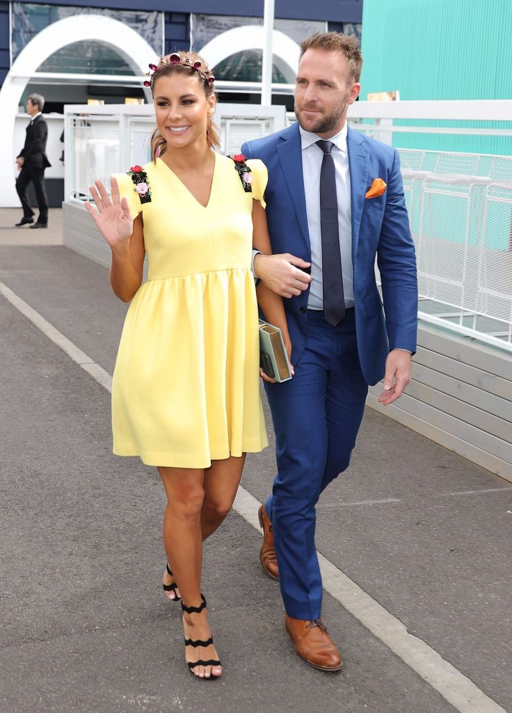 Lauren Phillips and Lachlan Sparks arrive on Melbourne Cup Day at Flemington Racecourse on November 1, 2016 in Melbourne, Australia.