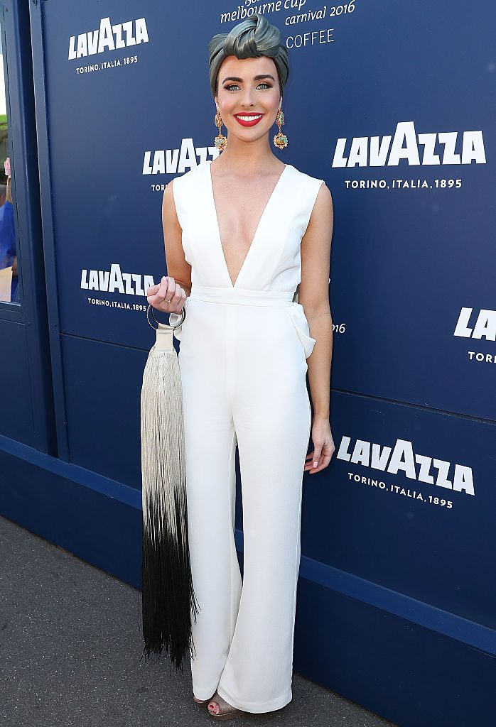 MELBOURNE, AUSTRALIA - NOVEMBER 03: Ashleigh Brewer poses at the Lavazza Marquee on Oaks Day at Flemington Racecourse on November 3, 2016 in Melbourne, Australia. (Photo by Scott Barbour/Getty Images)