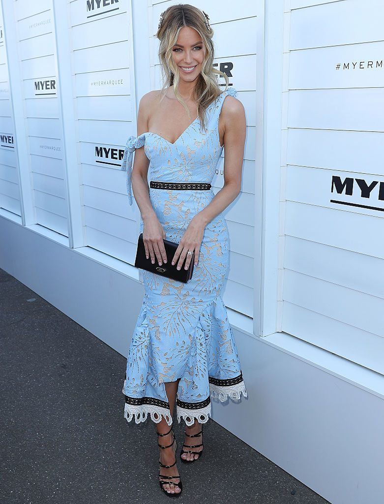 MELBOURNE, AUSTRALIA - NOVEMBER 03: Jennifer Hawkins arrives at the Myer on Oaks Day at Flemington Racecourse on November 3, 2016 in Melbourne, Australia. (Photo by Scott Barbour/Getty Images)