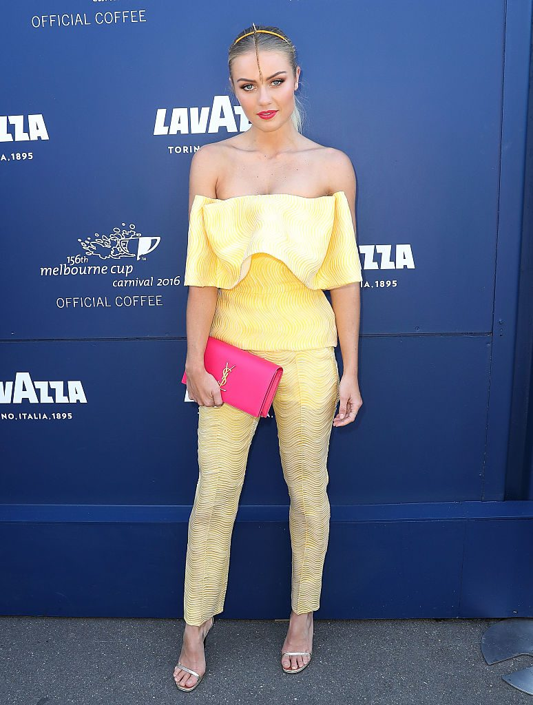 MELBOURNE, AUSTRALIA - NOVEMBER 03: Elyse Knowles poses at the Lavazza Marquee on Oaks Day at Flemington Racecourse on November 3, 2016 in Melbourne, Australia. (Photo by Scott Barbour/Getty Images)