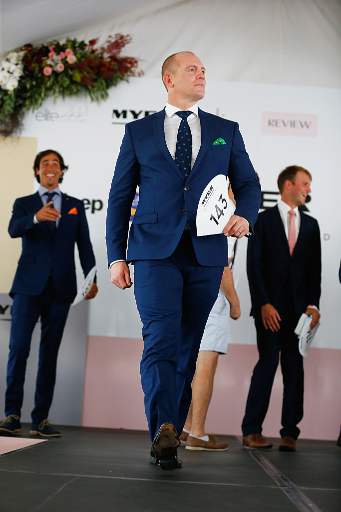 Mike Tindall competing in the Myer Men's Fashion on the Field competition.