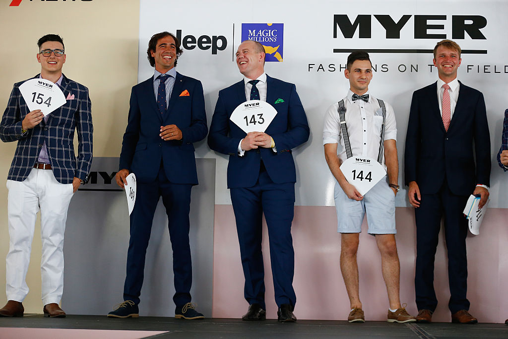 Mike Tindall competing in the Myer mens Fashions on the Field