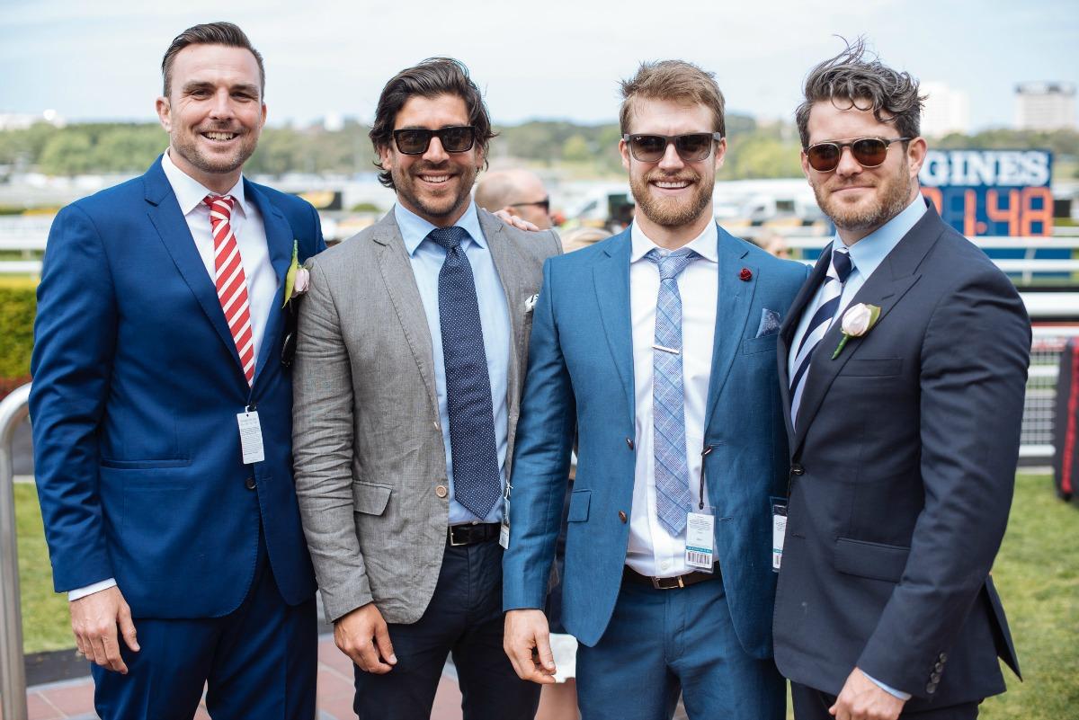 men pose at the races Sydney