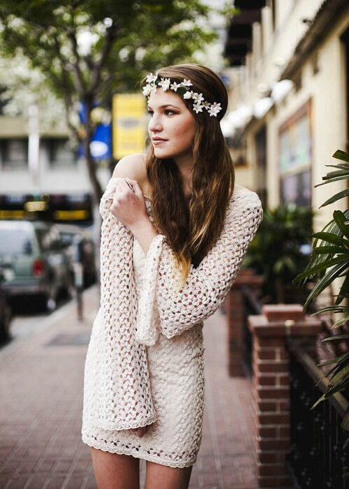 A girl wearing a flower headband