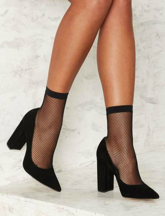 fishnet socks and heels
