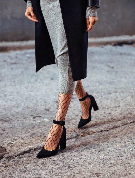 fishnet tights and heels